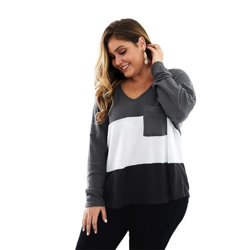 Grey Colorblock V Neck Plus Size Knit Sweater TQK270022-11