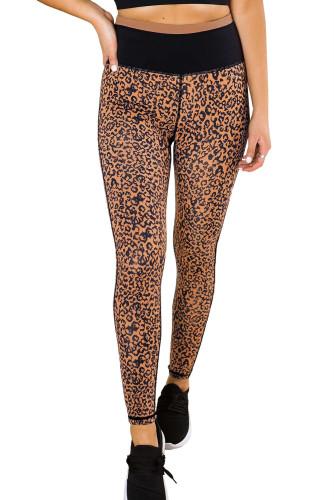 Mocha Leopard Print Active Leggings LC26076-20