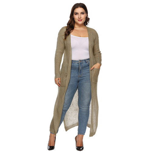 Khaki Split Plus Size Cardigan With Pockets TQK270039P-21
