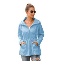 Light Blue Waterproof Slim Fit Outdoor Coat TQK280013-30