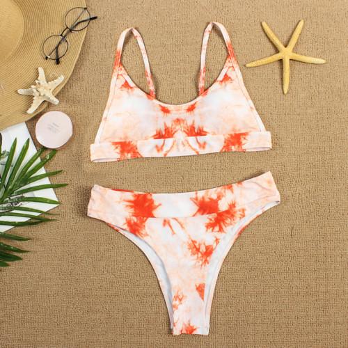 Orange Two-piece Tie Dye Bikini TQK610175-14