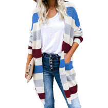 Blue Colorblock Long Style Knitted Cardigan TQK271089-5