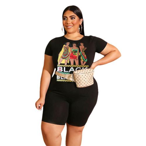 Black BLACK BEAUTIFUL Print Plus Size Shorts Set TQK710098-2