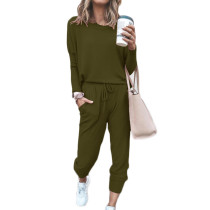Army Green Long Sleeve Casual Top and Pant Set TQK710093-27
