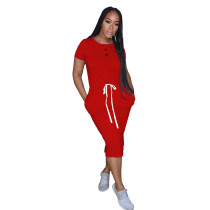 Red Elastic Waist Short Sleeve Casual Dress TQK310321-3