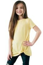 Yellow Twist Drape Short Sleeve Tee for Girls