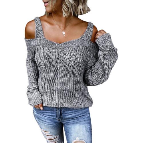 Light Gray Cold Shoulder Long Sleeve Knit Sweater TQK271046-25
