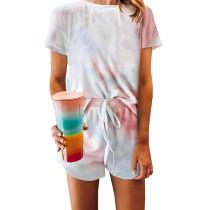 Orange Tie Dye Short Sleeve Pajama Set TQK710039-14