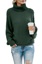 Green Turtleneck Balloon Long Sleeve Pullover Sweater LC270200-9