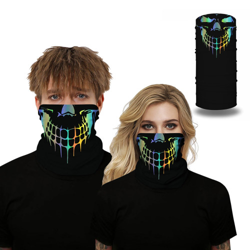 Green Skull Print Multifunction Outdoor Cycling Mask TQZ910055