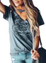 Gray Funny Motorcycle Printed Halter V-Neck Short Sleeve Graphic Tee LC251022-11