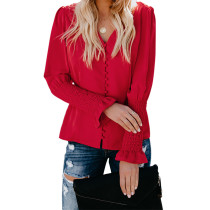 Red V Neck Long Sleeve Casual Tops