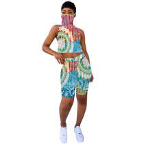 Aquamarine Tie Dye Tank Top Shorts Set with Mask TQK710076-45