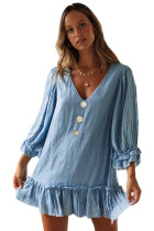 Sky Blue Casual Loose V Neck Short Swing Dress