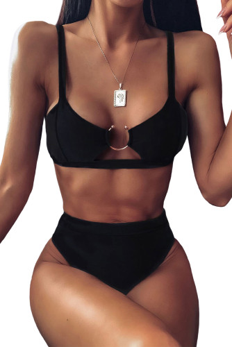 Solid Black High Waisted Bikini Swimsuit LC412230-2