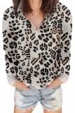 Leopard Zipped Collar Sweatshirt LC253327-20