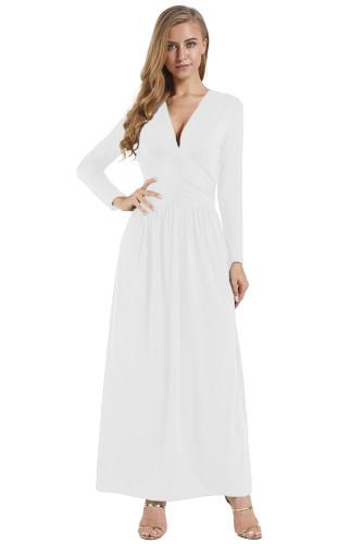 White Vintage Inspired V-neck Long Sleeve Maxi Dress