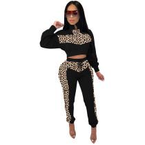 Black Leopard Print Crop Top with Pant Set TQS710018-2