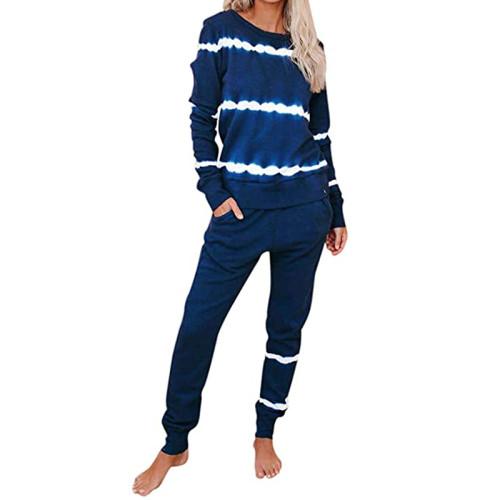 Blue Striped Long Sleeve Pant Set Loungewear TQK710110-5