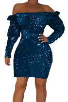 Blue Sequin Off Shoulder Club Dress LC220851-5