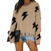 Khaki Distressed Hole Tassel Pullover Sweater TQK271054-21