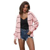 Pink Striped Long Sleeve Cardigan TQK271084-10