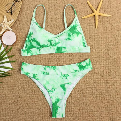 Green Two-piece Tie Dye Bikini TQK610175-9