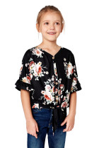 Black Floral Print Button Up Toddler Tunic