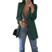 Dark Green Turndown Collar Blazer With Pockets TQK260012-36