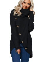 Black Turtleneck Button Front Slit High Low Hem Sweater LC253798-2