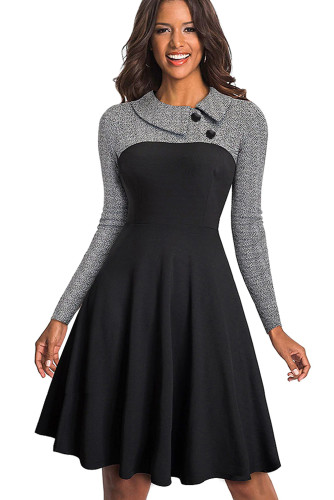 Gray Vintage Turn-Down Collar Pinup Button A-Line Dress