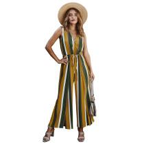 Yellow Stripe Wide Leg Split Casual Jumpsuit TQK550184-7