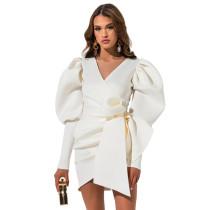 White Asymmetric V Neck Bodycon Dress TQK310184-1