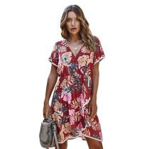 Red Flower Print Ruffle Hem Casual Dress TQK310314-3