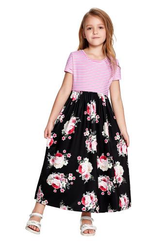 Black Striped Floral Print Little Girls Maxi Dress