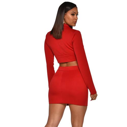 Red Button Details Blazer with Skirt Set TQS710027-3