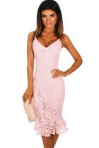 Pink Crochet Frill Midi Dress