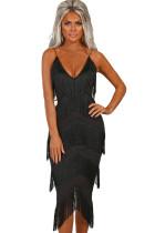 Black Tassel Bodycon Midi Dress
