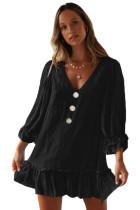 Black Casual Loose V Neck Short Swing Dress