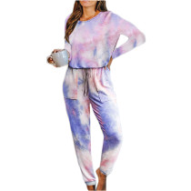 Light Purple Cotton Blend Long Sleeve Loungewear Jumpsuit TQK550202-38