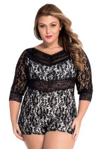 Lace Overlay Off-shoulder Romper LC60411-2