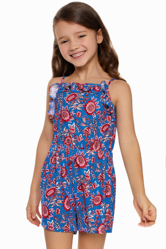 Blue Girls's Sleeveless Romper TZ64009-5