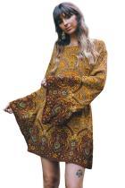Yellow Starlight Bell Sleeve Shift Print Dress LC221013-7