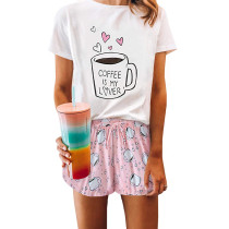 Pink Cup Print Short Sleeve Pajama Set TQK710039-10