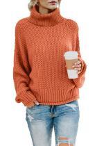 Orange Turtleneck Balloon Long Sleeve Pullover Sweater LC270200-14