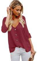 Red Button Detail Roll up Sleeve Blouse LC252349-3