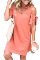 Red Cold Shoulder Shift Dress LC221095-3