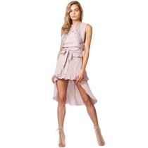 Pink Tie Waist Irregukar Casual Dress