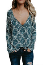 Blue Long Sleeve V Neck Printed Chiffon Blouse