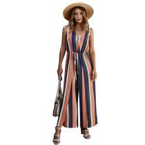 Pink Stripe Wide Leg Split Casual Jumpsuit TQK550184-10